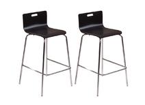 Lot de 2 tabourets / chaise de bar design noirs EMPIRE