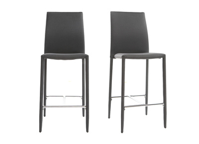 Lot de 2 tabourets / chaises de bar design gris anthracite TALOS