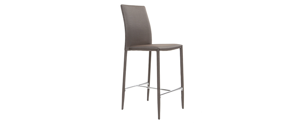 Lot de 2 tabourets / chaises de bar design taupe TALOS