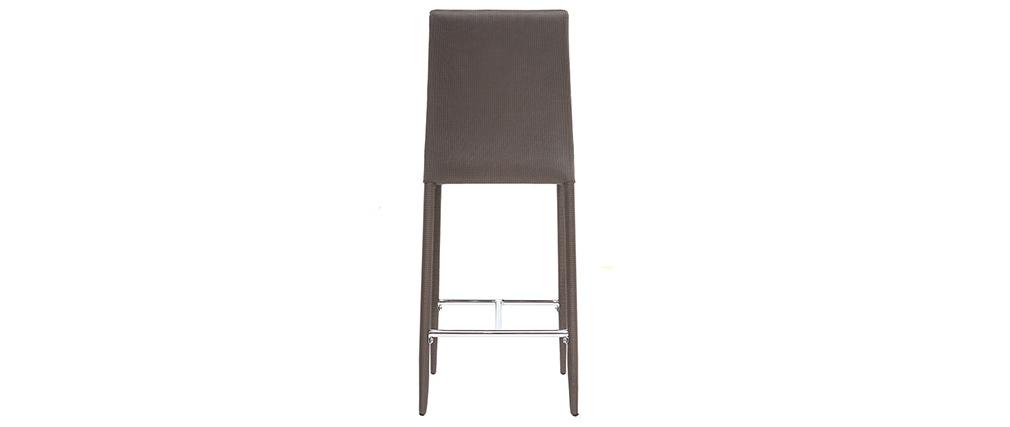 Lot de 2 tabourets / chaises de bar design taupe TALOS