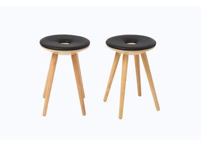Lot de 2 tabourets d'appoint design bois naturel et noir NORDECO