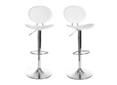 Lot de 2 tabourets de bar / cuisine design blanc OVALY