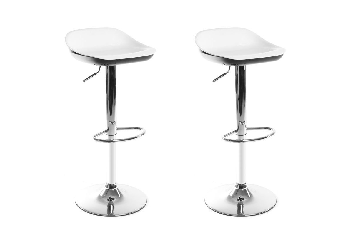 lot de 2 tabourets de bar design blanc et noir pomy miliboo. Black Bedroom Furniture Sets. Home Design Ideas