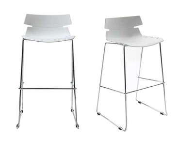 Lot de 2 tabourets de bar design blanc IRIS