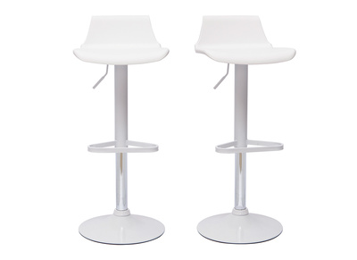 Lot de 2 tabourets de bar design blanc KRONOS