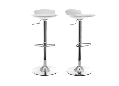 Lot de 2 tabourets de bar design blanc NOVA