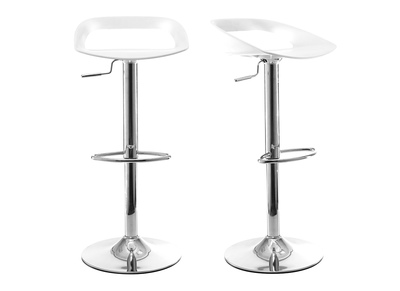 Lot de 2 tabourets de bar design blanc PHENIX