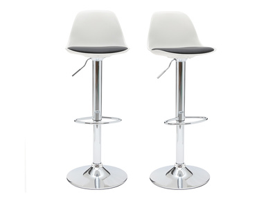 Lot de 2 tabourets de bar design blancs et noirs STEEVY
