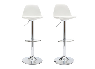 Lot de 2 tabourets de bar design blancs STEEVY