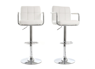 Lot de 2 tabourets de bar design blancs WILLORD