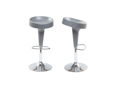 Lot de 2 tabourets de bar design gris mat HORTEN