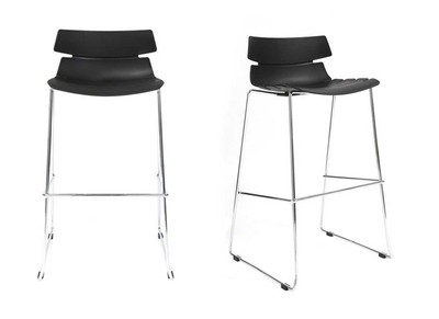 Lot de 2 tabourets de bar design noir IRIS