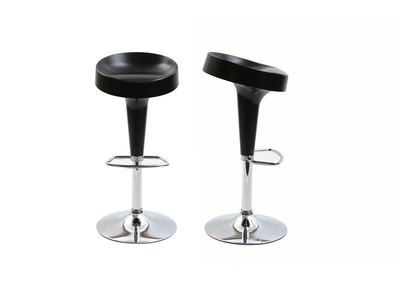 Lot de 2 tabourets de bar design noir mat HORTEN