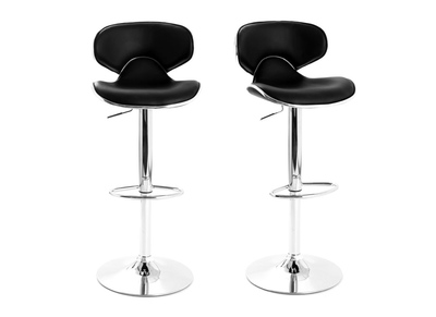Lot de 2 tabourets de bar design noir PEGASE