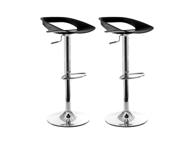 Lot de 2 tabourets de bar design noir PHENIX