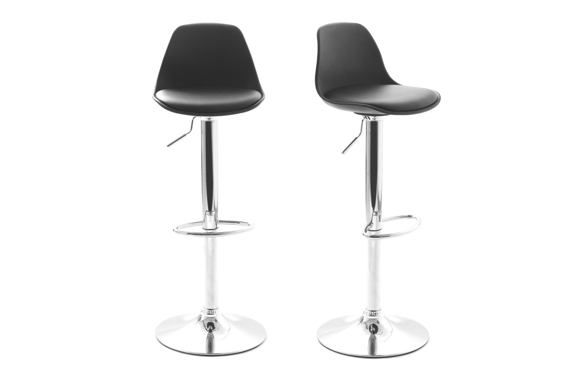 Lot de 2 tabourets de bar design noirs steevy - Prix tabouret de bar ...