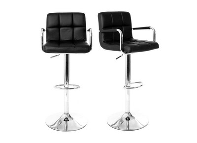 Lot de 2 tabourets de bar design noirs WILLORD