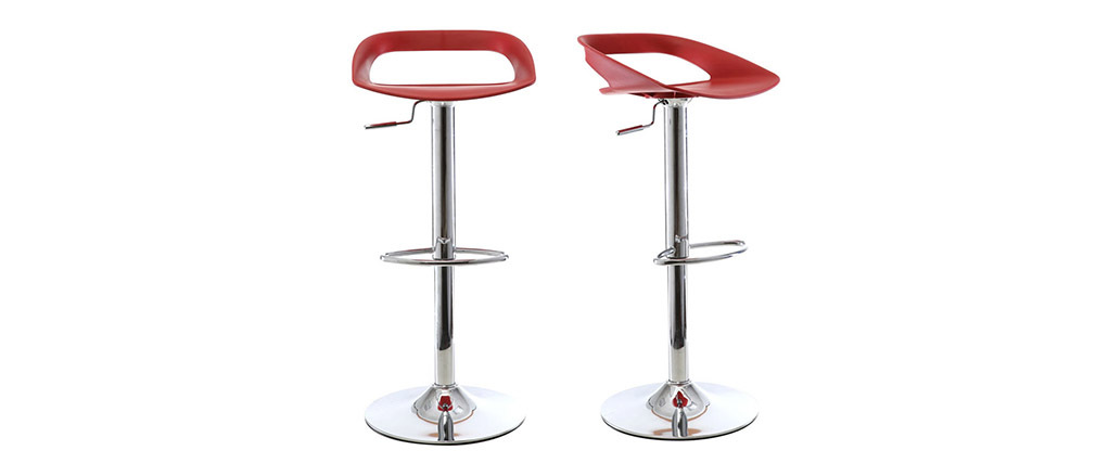 Lot de 2 tabourets de bar design rouge PHENIX
