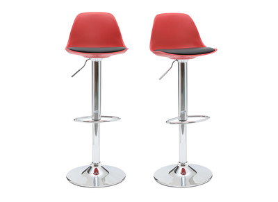 Lot de 2 tabourets de bar design rouges et noirs STEEVY