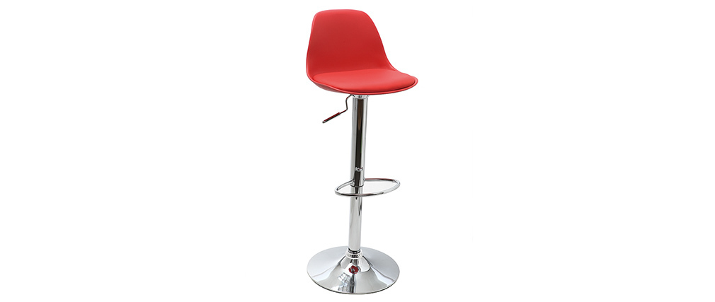 Lot de 2 tabourets de bar design rouges STEEVY
