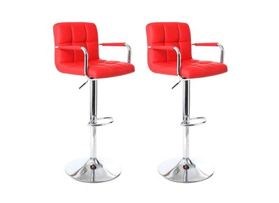 Lot de 2 tabourets de bar design rouges WILLORD