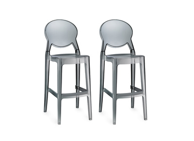 Lot de 2 tabourets de bar design transparent gris UP