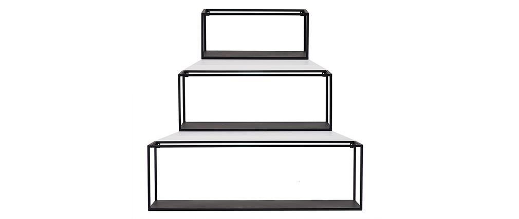 Lot de 3 étagères murales rectangle métal noir KARL