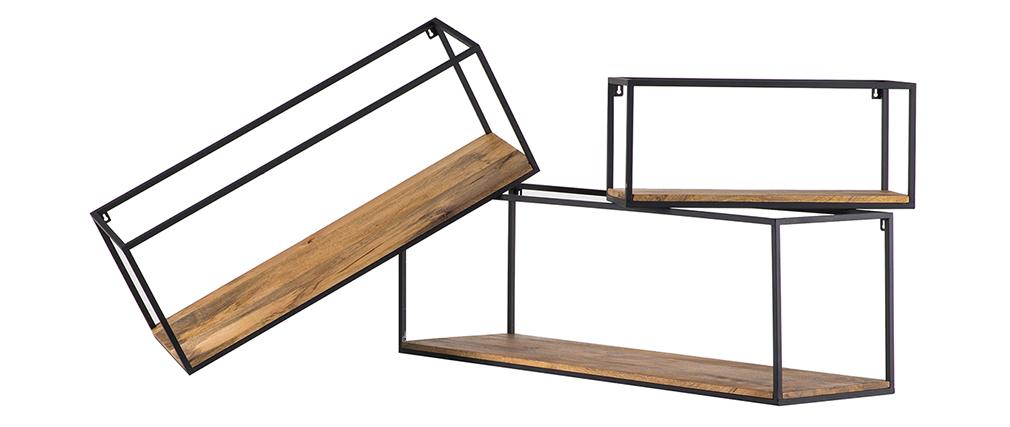 Lot de 3 étagères murales rectangles métal noir et manguier YPSTER