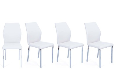 Lot de 4 chaises design blanches PU ODA