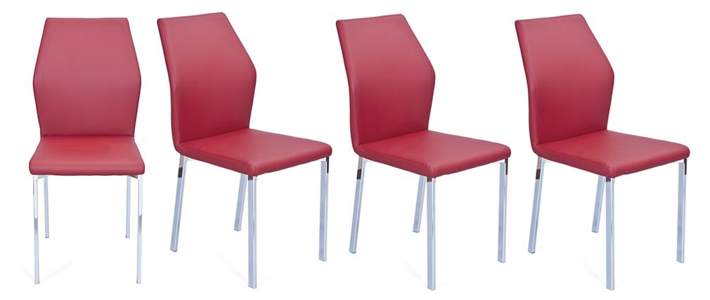 Lot de 4 chaises design bordeaux pu oda miliboo - Lot de 4 chaises design ...