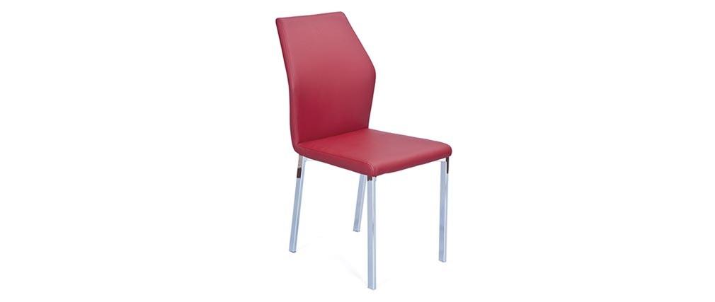 Lot de 4 chaises design bordeaux pu oda miliboo - Lot de 4 chaises design ...