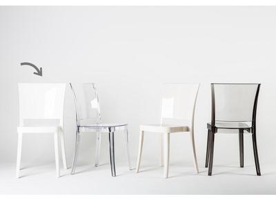 Lot de 4 chaises design en polycarbonate blanc KHYRA