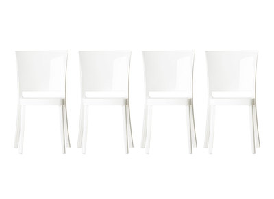 Lot de 4 chaises design en polycarbonate blanc KHYRA