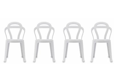 Lot de 4 chaises design en polycarbonate blanche CAPUCINE