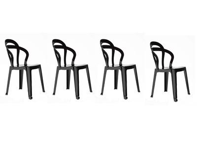 Lot de 4 chaises design en polycarbonate noir CAPUCINE
