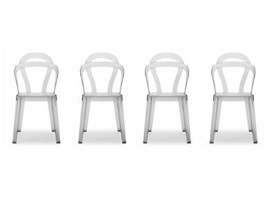 Lot de 4 chaises design en polycarbonate transparent CAPUCINE
