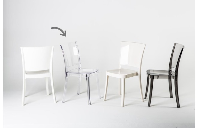 mobilier table chaises en polycarbonate transparent. Black Bedroom Furniture Sets. Home Design Ideas