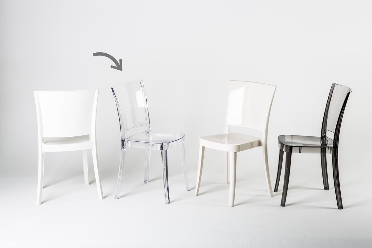 Lot de 4 chaises design en polycarbonate transparent khyra - Lot de 4 chaises design ...