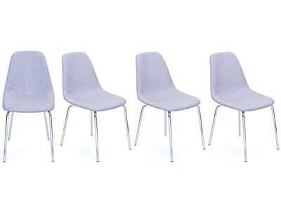 Lot de 4 chaises design en polyester gris PITA