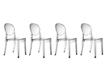 Lot de 4 chaises design médaillon transparentes ROYAL