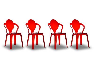 Lot de 4 chaises design rouges tranparentes SVELTE