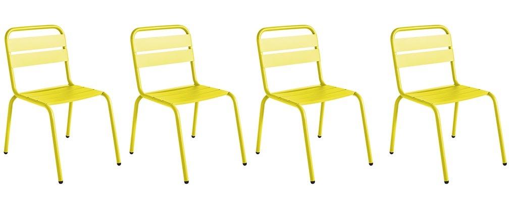 Lot de 4 chaises d 39 ext rieur design aluminium jaune - Lot de 4 chaises design ...