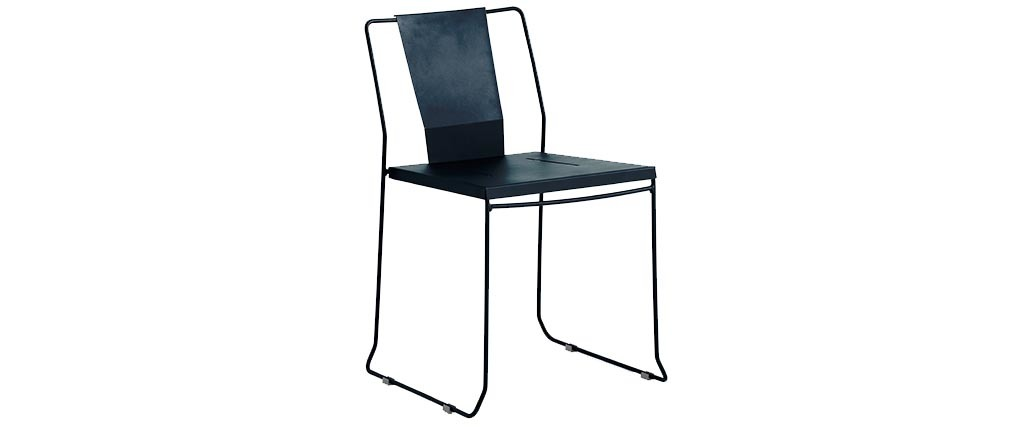 Lot de 4 chaises d 39 ext rieur design m tal noir tenerife miliboo - Chaise exterieure design ...