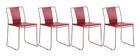 Lot de 4 chaises d'extérieur design métal rouge TENERIFE