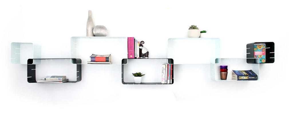 Lot de 7 étagères design noires et blanches modulables KLIK XL