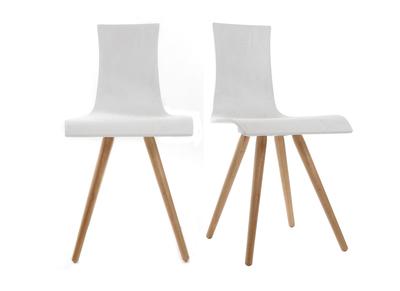 Lot de deux chaises bois, assise blanche - BALTIK