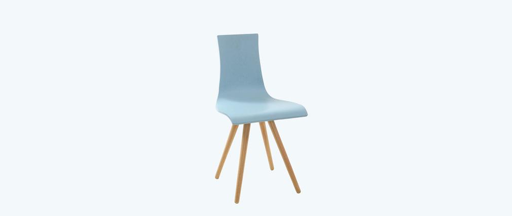 Lot de deux chaises bois teinté bleu BALTIK