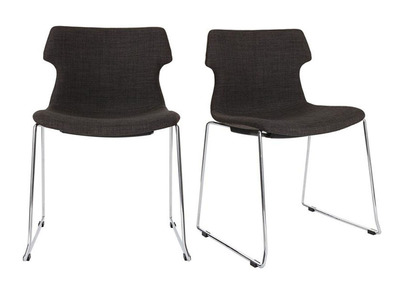 Lot de deux chaises design assise grise MONROE