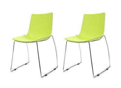 Lot de deux chaises design luge anis SORAYA