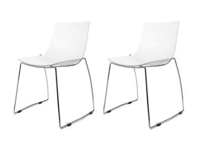 Lot de deux chaises design luge blanches SORAYA